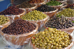 Kinds of olives. A nice view of different kinds of olives Stock Photos