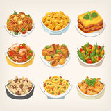 Kinds of pasta dishes Royalty Free Stock Photos