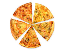 5 kinds of pizza Royalty Free Stock Photography