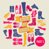 Kinds of shoes. part 1 Stock Image