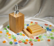 Kinds of soap on silk background Royalty Free Stock Images