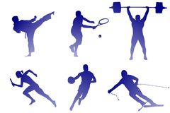Kinds of sport: tennis, basketball and others royalty free illustration
