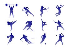 Kinds of sport: tennis, football and others - isolated image vector illustration