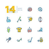 Kinds of Sport - thick line icons set Royalty Free Stock Photography