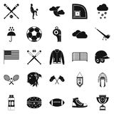Kinds of sports icons set, simple style. Kinds of sports icons set. Simple set of 25 kinds of sports vector icons for web isolated on white background Royalty Free Stock Image