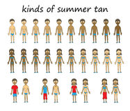 Kinds of summer tan. Summer tan character set. Isolated on a white background Stock Photo
