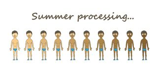 Kinds of summer tan. Summer tan character set. Isolated on a white background Stock Image