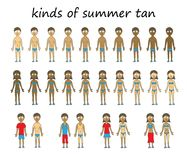 Kinds of summer tan. Summer tan character set. Isolated on a white background Royalty Free Stock Photography