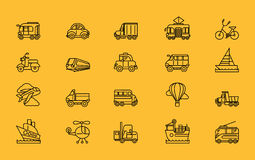 Kinds of Transport Set Black Outline Icons Royalty Free Stock Images