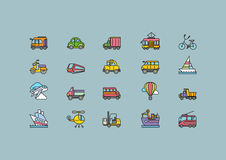 Kinds of Transport Set Colorful Outline Icons Royalty Free Stock Photography