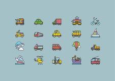 Kinds of Transport Set Colorful Outline Icons vector illustration