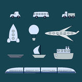 Kinds of transport. A set of transport such as plane, bus, ship etc vector illustration