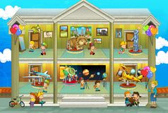 Kinds on vacations - cross section - play fun and education - illustration for the children Royalty Free Stock Images