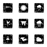 Kinds of weather icons set, grunge style Stock Images