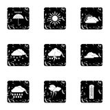 Kinds of weather icons set, grunge style Royalty Free Stock Image