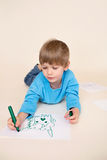 Kindtekening, Jonge geitjesart. stock afbeelding