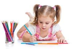 Kindtekening met potloden Stock Afbeelding
