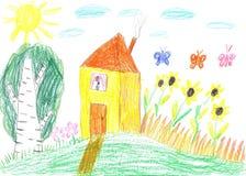 Kindtekening van een huis Stock Afbeeldingen