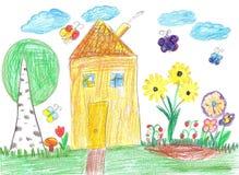 Kindtekening van een huis Stock Foto's