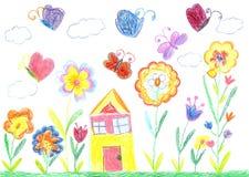 Kindtekening van een huis Royalty-vrije Stock Foto's