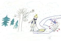 Kindweg mit dem Schlitten, zeichnend lizenzfreie abbildung