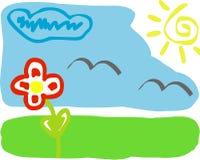 Kindzeichnen (Frühling) Lizenzfreie Stockfotos