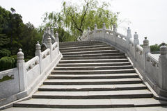 Kines Asien, Peking, Beihai parkerar, de forntida byggnaderna, stenbro, Royaltyfri Bild