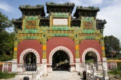 Kines Asien, Peking, Beihai parkerar, det glasade seminariet Royaltyfri Bild