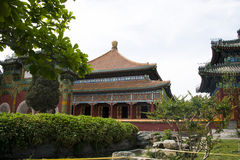 Kines Asien, Peking, Beihai parkerar, det lilla västra, sidokorridor Royaltyfri Foto