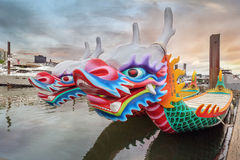 Kines Dragon Boats Closeup arkivfoton