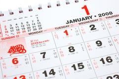 kines för 2008 kalender Royaltyfri Fotografi