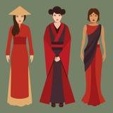 Kines-, japan- och indierkvinnor Royaltyfri Fotografi