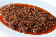 kines kryddig tärnad meat arkivfoton