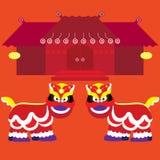 Kines Lion And Chinese Building Style för kinesisk beröm för nytt år Arkivfoto