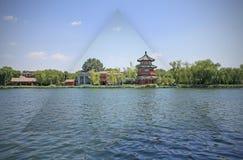 Kines parkerar vid sjön i Peking royaltyfri fotografi