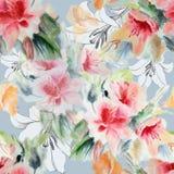 Kines steg, liljan, blomman, buketten, vattenfärg, mönstrar sömlöst Royaltyfri Foto