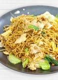 Kines stekt nudel med griskött arkivfoto