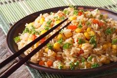 Kines stekte ris med ägg, havre och kryddor som är horisontal royaltyfria bilder