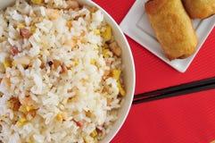 Kines stekte ris och springrolls Royaltyfri Foto