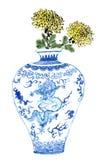Kines-stil teckningar, skissar, krysantemumblomman i blått och vitt porslin Royaltyfri Bild
