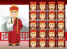 Kines Tan Sanzang Cartoon Emotion vänder mot vektorillustrationen vektor illustrationer
