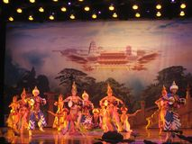 Kines Tang Dynasty Performance Arkivbilder