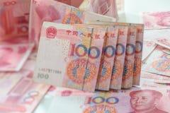 100 kines Yuan Arkivfoton