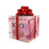 Kines Yuan Money Gift Box Royaltyfri Foto