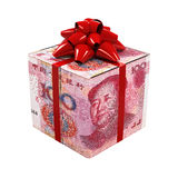 Kines Yuan Money Gift Box Arkivbilder