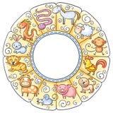 kinesen undertecknar zodiac Arkivbilder