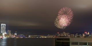 kinesfyrverkeriHong Kong nytt år 2012 Arkivfoton