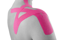 Kinesio tape on female shoulder Royalty Free Stock Photography