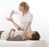 Kinesiologist treating Diaphragm royalty free stock images