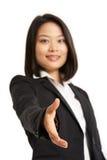 Kinesisk affärskvinna som ut ner för att uppröra H Arkivfoton